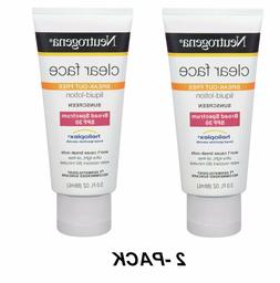 2-PK Neutrogena Sunscreen CLEAR FACE Break-out Free Liquid L