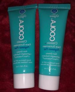 2 COOLA Classic Face Sunscreen Lotion SPF 50 Unscented .24 o