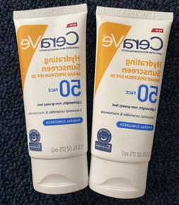 2 CeraVe Hydrating Mineral Face Sunscreen Broad Spectrum SPF