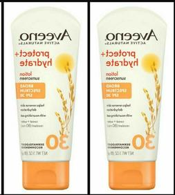 2 Pack AVEENO Protect Hydrate Sunscreen Lotion SPF 30 ~ 3oz