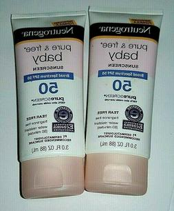 2 Pack NEUTROGENA PURE & FREE BABY SUNSCREEN - SPF 50 - 3 OZ