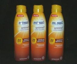 3 PACK Coppertone Tanning Defend & Glow SPF15 Sunscreen Spra