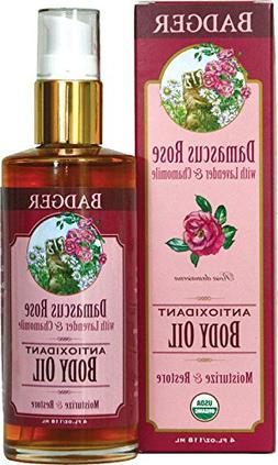 BADGER Damascus Rose Antioxidant Body Oil, 4 Ounce