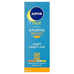 NIVEA Protect and Bronze Face Sun Cream Number 50, High - 50