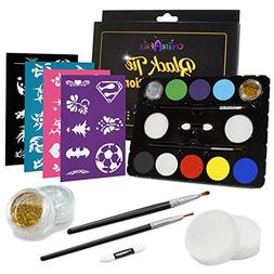 Create A Face Painting Set + Stencils  Brushes, Glitter & Ap