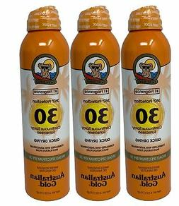 Australian Gold Continuous Spray Sunscreen Quick Dry 3-Pack