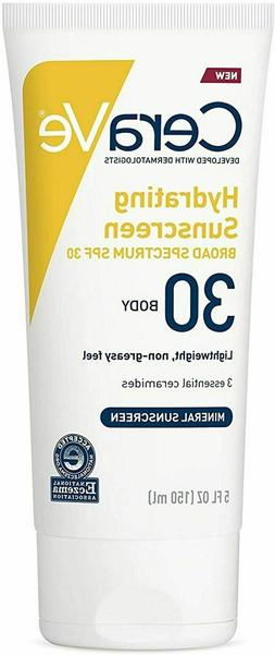 CeraVe Hydrating Sunscreen for Body SPF 30 5oz Ex 10-20