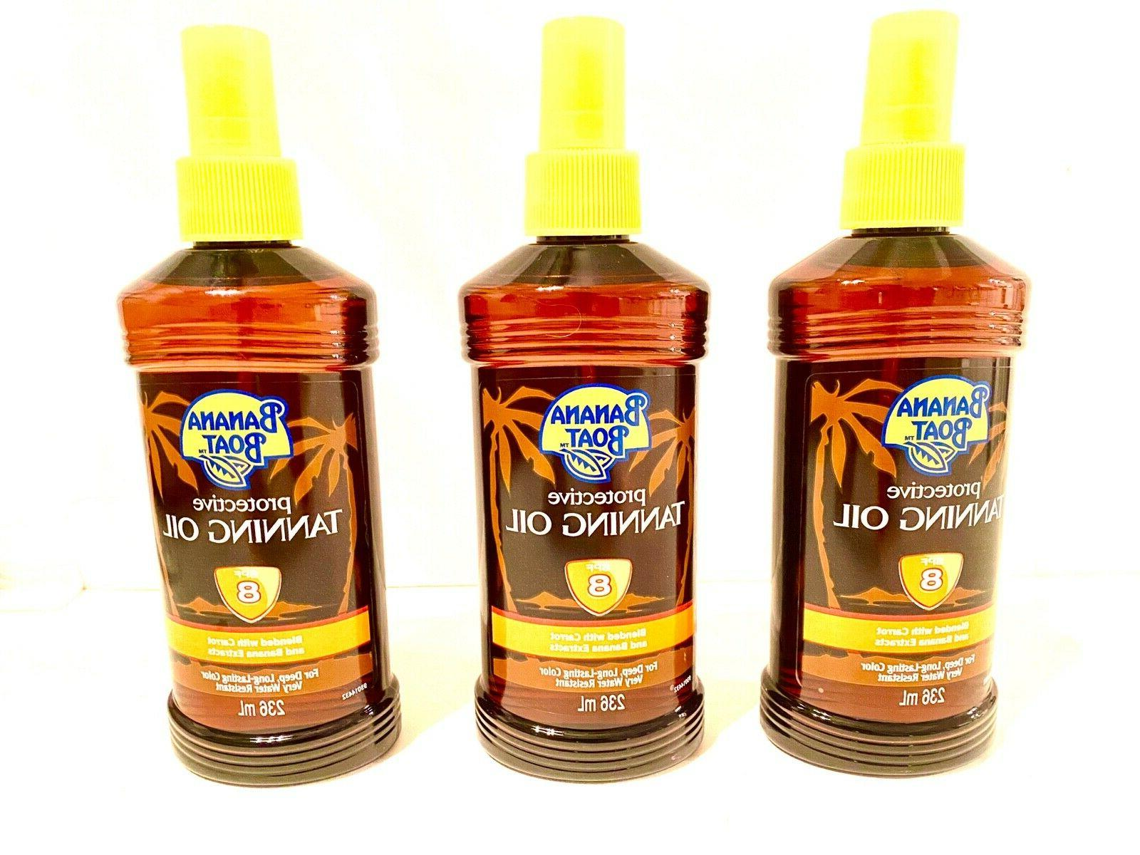 12 - 8oz. Bottles of Banana Boat Protective Tanning Oil Spra