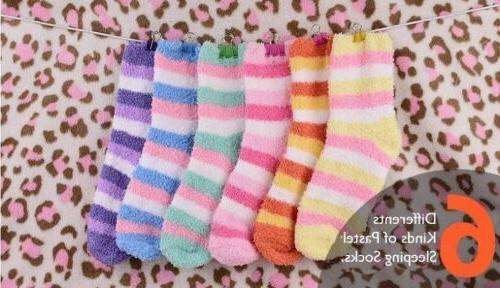 12 pair stripes soft warm fuzzy sleeping