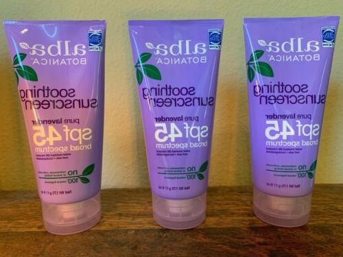 3 sunscreen lavender spf 45 water resistant