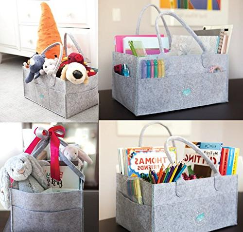 Baby Organizer - Shower Basket for | Diaper Tote Bag for Changing Table Newborn | Portable Car