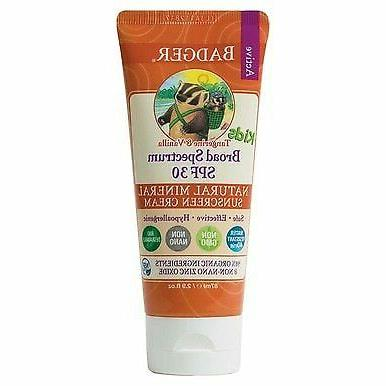 Badger - SPF 30 Kids Sunscreen Cream, Tangerine and Vanilla