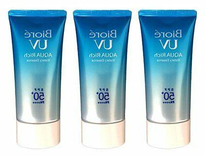 Biore UV Aqua Rich Watery Essence SPF50+/PA++++ pack of 3
