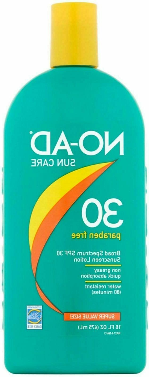 NO-AD Sun Care Sunscreen Lotion, SPF 30 16 oz