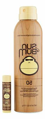 Sun Bum SPF 50 Sunscreen Spray 6 oz & SPF 30 Lip Balm Banana