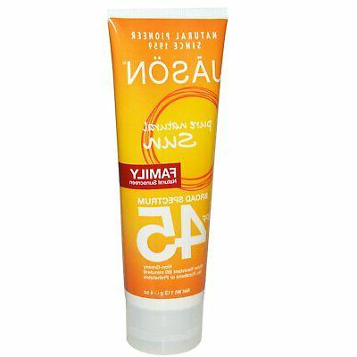 Jason Natural Products SPF 45 Family Sunblock, 4 Ounce - 2 p