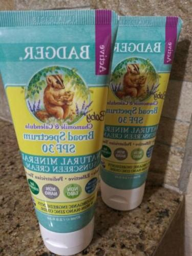 Baby Sunscreen Cream by Badger - SPF 30 - 2.9 Ounce Tube