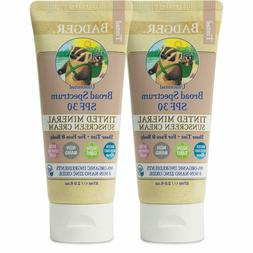 Badger SPF 30 Tinted Sunscreen Cream for Body & Face Unscent