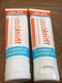 THINKBABY SPF 50+ Sunscreen for Babies 2 Tubes 3 oz each Exp