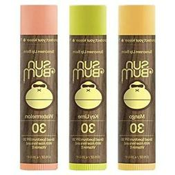 Sun Bum SPF30 Lip Balm Mango, Lime, Watermelon 3-Pack