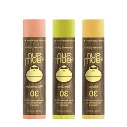 Sun Bum SPF30 Lip Balm Mango, Lime, Watermelon 3 Pack 20-TRO